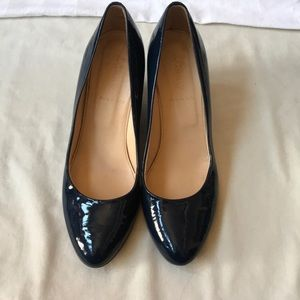 J. Crew Shoes - J. Crew Patent Leather Wedge Shoes 8.5 Navy Blue